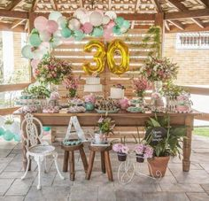 painel de pallet 30 anos Aloha Party, 30th Party, 90th Birthday Parties, Baby Boy 1st Birthday, Adult Birthday Party, 20th Birthday, Bday Girl, 30th Birthday Decorations, 30th Wedding Anniversary