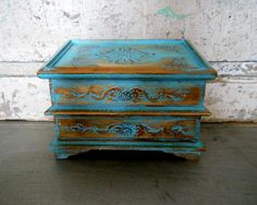 Jewelry Box Painted Turquoise Gold by turquoiserollerset on Etsy, $44.00