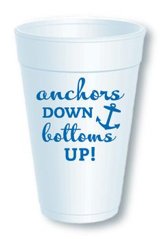 Anchors Down Bottoms Up! No event is complete without fun and festive drinkware! Our Anchors Foam Cup is sure to be a hit at your party. White foam cups come printed on 2 sides and packaged in clear plastic sleeves. These 16 oz cups are disposable. 10 cups per sleeve. https://incrediblycharming.com/foam-cups/81-anchors-foam-cup.html Made in the USA.