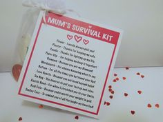 Mum, Mothers Day Survival Kit, Novelty Gift Sentimental Fun as a Keepsake Candy Board, I Love Heart, Novelty Gifts, Paper Clip, Survival Kits, Sayings, Cubs, Celebrations, Mothers