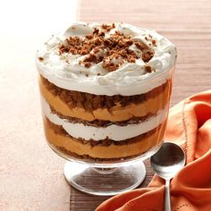 Pumpkin-Butterscotch Gingerbread Trifle Recipe -There's more to pumpkin than pie, as this impressive trifle proves. It looks so elegant with alternating layers of gingerbread cake and pumpkin/butterscotch pudding. Try making it ahead of time for a fuss-free dessert when you're planning to entertain guests. —Lyla Lehenbauer, New London, Missouri