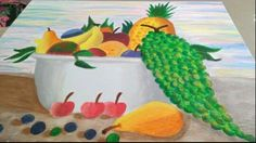 The classic fruit bowl still life painting By: Wajeeha Zaheer