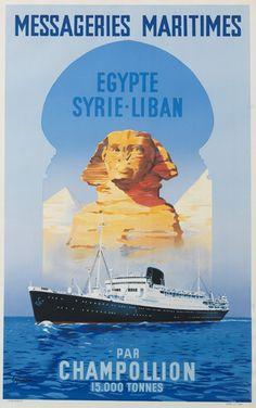 """Messageries Maritimes - Egypte, Syrie, Liban par """"Champollion"""" - illustration : Vincent Guerra -"""