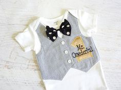 Mr. Onederful First Birthday Tuxedo Bodysuit by sarasweetandsmall