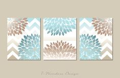 Flower Bursts with Chevron/Stripes Set 3 5x7 by 7WondersDesign, $21.00 but with yellow and gray