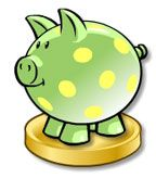 Image shows a piggy bank standing on a large coin.