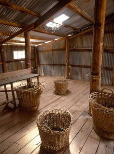 Neds Corner Station, Victoria Old wool baskets inside a shearing shed. http://www.paulsinclairphotography.com.au/gallery_488843.html#photos_id=9243439