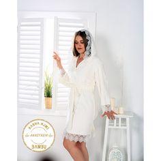 Rasha Home Bambu Kapşonlu Dantelli Bayan Bornoz - Anastasia - Kre