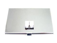 Business Card Holder with Paris Eiffel Tower Pendant