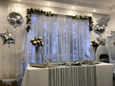 Good news for the young people to get engaged ! We are looking for the best engagement concept … – My Wedding Dream Wedding Hall Decorations, Engagement Decorations, Flower Decorations, Tulle Backdrop, Party Background, Baby Boy Shower, Seasonal Decor, Wedding Anniversary, Wedding Engagement