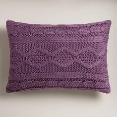 Bring a colorful, wintry touch to your décor with our super soft Purple Hand-Knit Lumbar Pillow. Lumbar Pillow, Throw Pillows, My Favorite Color, My Favorite Things, Sweater Pillow, Purple Hands, Shades Of Purple, Soft Purple, Crochet Home Decor