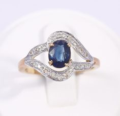 Vintage 14k Yellow Gold Blue Sapphire & Diamond Gemstone Ring size 7 Free Ship #Handmade #Ring