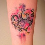 Small Heart Watercolor Tattoo