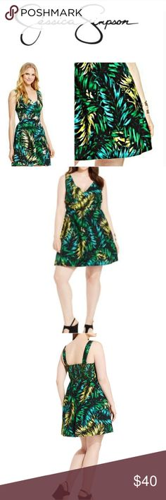 Jessica Simpson LILLIAN LEAF Fit&Flare dress xs Beautiful fit and flare style dress! Has a front cutout below bust and a criss cross wrap across the bust. Elastic band in the back for a more flattering fitted waist & back zipper closure. Tropical colors of black/green/yellow leaf prints. NWOT A MUST HAVE for this summer! Look super-cute in Jessica Simpson's. Exposed zipper with smocking at back. Sleeveless. Allover leaf print. Lined. A-line silhouette. Hits at knee. Shell and lining: cotton…