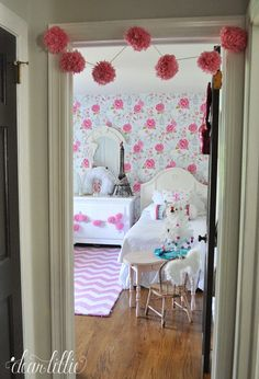 Dear Lillie: The Girls' Christmas Bedroom Girls Bedroom, Bedroom Ideas, Dear Lillie, Christmas Bedroom, Pom Pom Garland, Big Girl Rooms, Glass Slipper, Trim Color, Pottery Barn Kids
