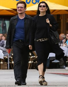 One love: Bono was in sync with wife of 34 years Ali Hewson as they enjoy a romantic Mother's Day stroll in WeHo on Sunday
