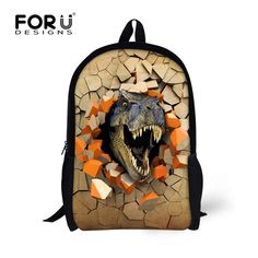 a812d99f263 FORU DESIGNS 3D Printing 6 Cool Dinosaur School Bags Students Backpacks for Children  Boys Bookbags Medium