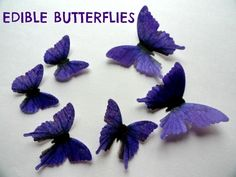 12 PURPLE Edible Wafer Paper Butterflies in 3 Assorted Sizes Pre Cut Decorations Toppers Macaron Cookies By Everything's Edible
