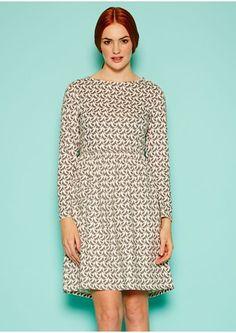 Orla Kiely Birdwatch Gathered Dress in Grey