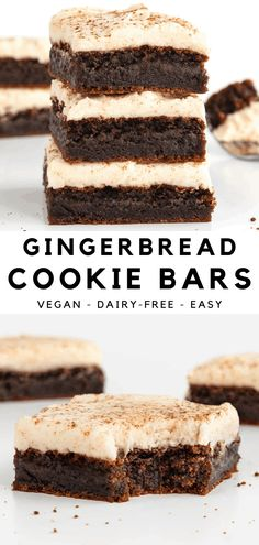 Frosted gingerbread cookie bars are fudgy, chewy, and perfect for Christmas! This holiday dessert is vegan, dairy-free, and easy to make. The blondies have all the flavor and spice of gingerbread cookies with no complicated decorating. Topped with 3 ingredient vanilla frosting! #gingerbread #blondies #cookiebars #gingerbreadcookies #vegan #christmas #holidaybaking #gingerbreadbars #dessert Vegan Sweets, Healthy Dessert Recipes, Vegan Desserts, Easy Desserts, Baking Recipes, Delicious Desserts, Vegan Recipes, Vegan Gingerbread, Gingerbread Cookies