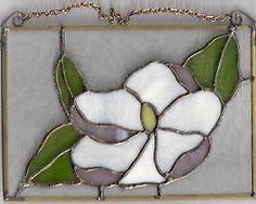 White Magnolia Stained Glass ART Suncatcher  new