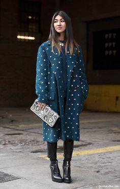 Dries coat, clutch, leather ankle boots / Garance Doré