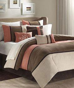 Another great find on #zulily! Coral Stripe Arielle Comforter Set #zulilyfinds
