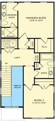 Cleverly-Designed Narrow Lot House Plan – floor plan – Floor - Home & DIY Narrow Lot House Plans, Small House Floor Plans, Duplex House Plans, Dream House Plans, Two Story House Design, Cottage Plan, Cottage Ideas, Townhouse Designs, Loft Spaces