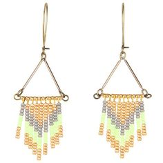 I Adorn U Green and Grey Beaded Chevron Dangle Earring ($29) found on Polyvore