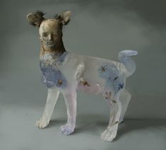 Christina Bothwell CatGirl 2009 cast glass raku clay taxidermy oil paints