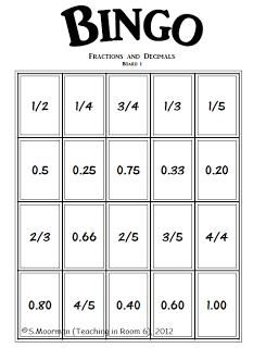 Converting fractions to decimals and vice versa Bingo game Teaching Fractions, Math Fractions, Teaching Math, Simplifying Fractions, Equivalent Fractions, Fun Math, Math Activities, Math Games, Math Teacher