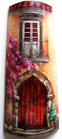 Tejas de barro decoradas  en especie de collage, pintadas al oleo o acrilicos