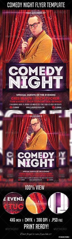 Comedy Show Flyer Template Flyer template, Template and Graphics - comedy show flyer template