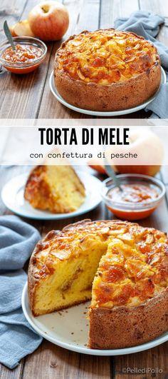 Golosa #tortadimele con #marmellata di pesche, semplicissima #senzaburro #ricetta #applecake #torta