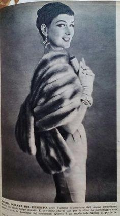 """La pubblicità negli anni 50 """" #moda #pelliccia"""" dalla rivista settimanale """"Tempo"""" 1956."""