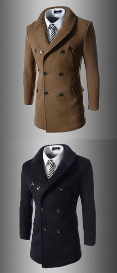 Men's Daily Going out Simple Casual Active Street chic Winter Fall Trench Coat
