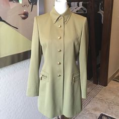 Escada Olive Green / Gold Buttons Long Line Jacket