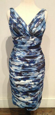 Carmen Marc Valvo Blue Floral Silk Dress Size 4