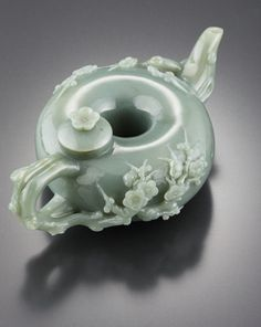 Korean traditional jade tea pot with carved apricot blossoms. - I'm in love with this tea pot.