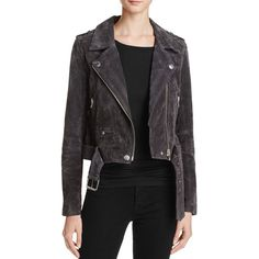 Blanknyc Suede Moto Jacket - 100% Bloomingdale's Exclusive ($210) ❤ liked on Polyvore featuring outerwear, jackets, grey, suede biker jacket, gray moto jacket, suede leather jacket, biker jacket and motorcycle jackets