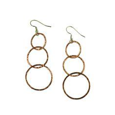 Amazon.com: John S Brana Handmade Three Tiered Hammered Copper Dangle Earrings: Jewelry