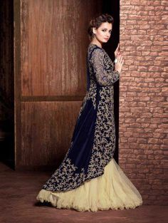 Navy Blue Velvet Designer Suit with Embroidery Work