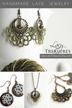 Handmade Lace Jewelry ~ So unique ... a little Bohemian, a bit vintage, but definitely modern  Customize colors and metals ~ many more styles even lace jewelry for a wedding.  Click and find out how it's made and you may find the perfect gift for someone special ... even you!  www.LacyTreasures.Etsy.com  Facebook: Lacy Treasures Tatting  and Instagram
