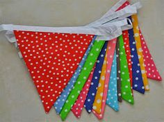 Rainbow polka dot bunting. Available from belbunting.co.za to hire