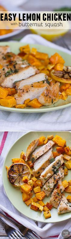 Simple and healthy, this Easy Lemon Chicken with Butternut Squash serves up roasted chicken breasts doused in lemon juice over roasted butternut squash.: