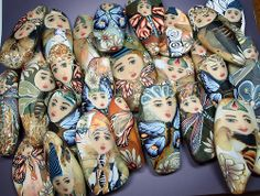 Fantasy beads by Barbara McGuire and Thomas Michael Poole polymer clay