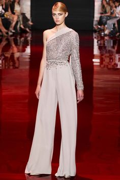 Ellie Saab Haute Couture 2013 Collection!..Wow, what a way to make a wedding statement...Great silhouette to recreate for a wedding pantsuit. Easy & cheaper to have custom made. Recreate to fit your style.