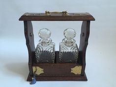 Beautiful Twin Bottle Oak And Brass Framed by OnlineAntiques