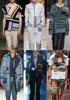 Menswear Spring/Summer 2016 Catwalk Print & Pattern Trend Highlights Part 2 - Patched - MSGM / Bottega Veneta / Damir Dorma / Valentino / Saint Laurent / Junya Watanabe