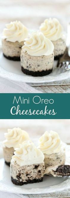 An easy two ingredient Oreo crust topped with a smooth and creamy Oreo cheesecake filling. These Mini Oreo Cheesecakes make a perfect dessert for any time of year! # Desserts for two Mini Oreo Cheesecakes Mini Desserts, Easy Desserts, Delicious Desserts, Yummy Treats, Sweet Treats, Yummy Food, Oreo Desserts, Cheesecake Desserts, Easy Sweets